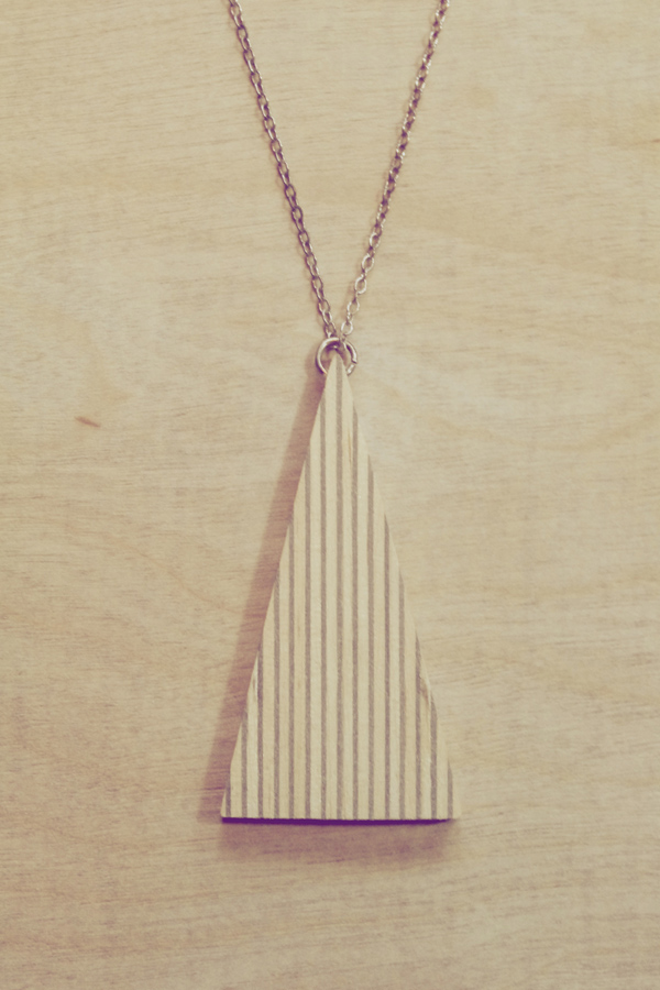 Hand made wooden triangle pendant